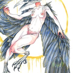 Harpy, pencil, watercolours and metallic paint